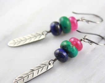 Fuchsia Chalcedony, Lapis and Turquoise Stamped Silver Feather Earrings