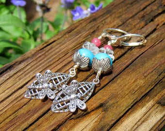 Turquoise Dragonfly earrings- Mother's day- Spring jewelry  Sterling silver earrings