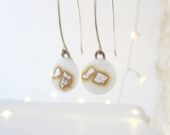 Fused Glass Earrings, White Glass Earrings, Dangle Earrings, Drop Earrings, Handmade Earrings