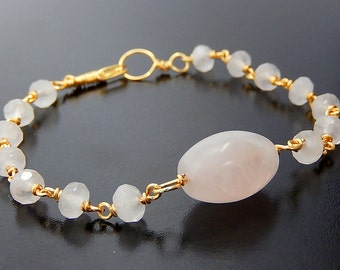 Rose Quartz Bracelet, Pink Bracelet, Gold Wire Wrapped Jewelry