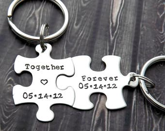 personalized keychain - Couples Keychains, together forever, puzzle keychains, personalized key chains, puzzle piece key chain