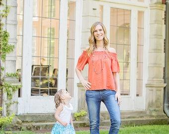 New Women's Orange Crinkle Gauze Off The Shoulder top, blouse
