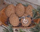 5 Primitive Rustic Olde Time Country Homespun Dark Yellow Fabric Easter Eggs Ornies Ornaments Tucks Bowl Fillers