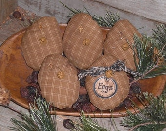 5 Primitive Rustic Olde Time Country Homespun Dark Yellow Fabric Easter Eggs Ornies Ornaments Tucks Bowl Fillers