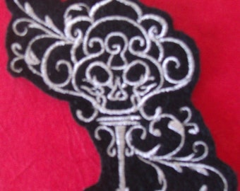 Silver Filigree Skeleton Key Embroidered Iron On Patch, Patches, Embroidered Applique, Embroidered Patch, Elegant Goth, Gothic Patch, Black