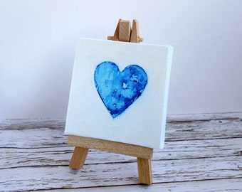 Mini original art canvas & easel. Watercolour heart mixed media painting. Blue and white. I Love You / Valentine gift.