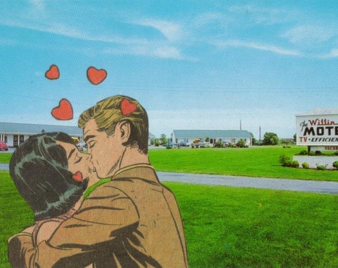 Get a Room Retro Motel Postcard, Comic Art Collage