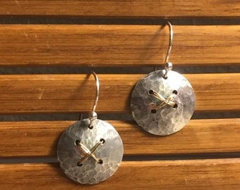 Hammered sterling silver and gold disc earrings, dangles