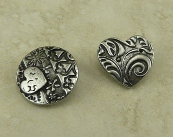 2 TierraCast Dulce Vida Amor Heart Button Mix Pack Flower Swirl Pattern Love Texture Antiqued Pewter Silver Lead Free I ship Internationally