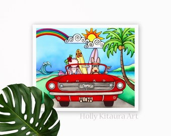 Pink Poodle - Chihuahua Dog Hawaiian Surf Wall Art Surfer Hawaii Surfing Red Vintage Mustang Car Print Painting Beach Ocean