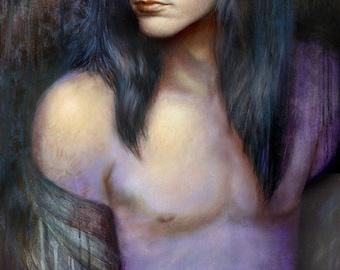 "ORIGINAL Phil Lewis painting, SIGNED, 20x38"", oil on canvas over panel, LA Guns"