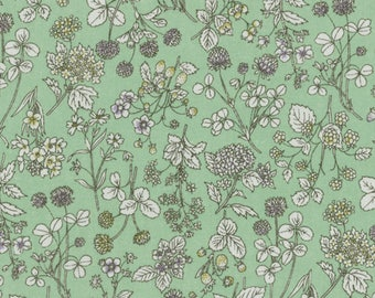 HALF YARD Lecien - Memoire a Paris 2017 - Floral on GREEN 40741-60 - Cotton Lawn - Flowers - Japanese Import