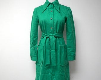 "Anjac styled by Marc Needleman . 60s 70s green pure wool . shirt dress . fits like a small . 35"" bust . made in California USA"