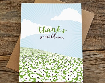 thank you card / thanks a million / poppies