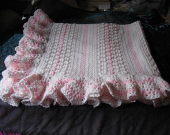 White and Pink Ruffled Hand Crocheted Baby Blanket Afghan