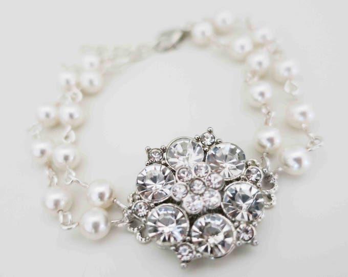 Pearl and Rhinestone Bracelet Emily Wedding Jewelry