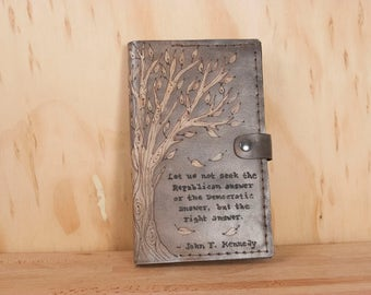 Custom Moleskine Journal Cover - Leather in the Knowledge pattern with tree and customized quote - Third Anniversary Gift