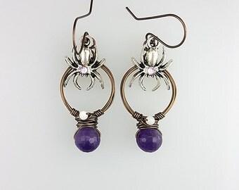 Amethyst Hoop Earrings, Purple Spider Earrings, Halloween Spider Earrings, Spider Hoop Jewelry, Purple Hoop Earrings, Purple Gothic Earrings
