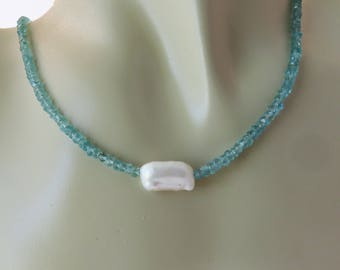 Apatite and Pearl Necklace, Aqua and White, June Birthstone, Mother's Day Gift for Her, Minimalist, Contemporary, Spring Fashion, Delicate