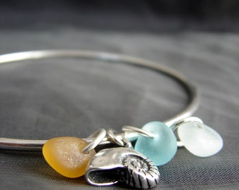 Sea Glass Bracelet / sea glass jewelry / beach glass bracelet / seaglass jewelry / ocean bracelet / seashell jewelry / sea glass bangle