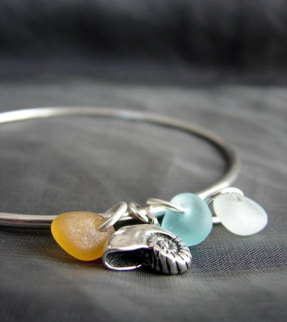 Little Nautilus sea glass bracelet