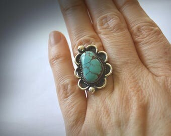 Turquoise Ring, Vintage Native American Ring, Size 7 Ring, Vintage Ring, Sterling Ring, Vintage Sterling Silver Ring, Turquoise Navajo Ring