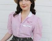 Beauty School Dropout Shirt. Pink stripe blouse. Vintage pink stripe shirt. Beauty School shirt. Vintage Blouse. Vintage Clothing. Handmade