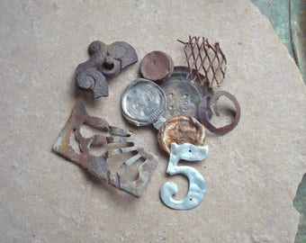 Rusted Oxidized Textured Metal PIeces Number 5 Found Objects, Industrial Salvage, Sculpture Altered Art Supplies