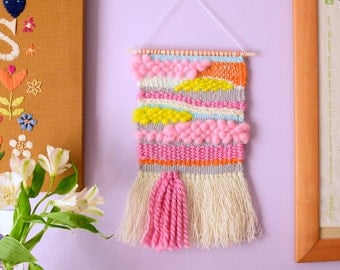 Small Woven Wall Hanging #2 - tapestry, fibre art, wall art, loom weave, weaving, home decor, one of a kind, wool roving, yarn, pink, yellow
