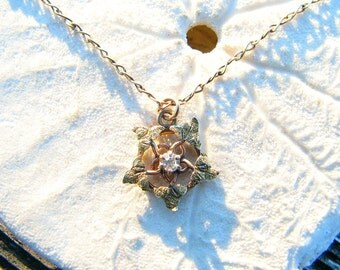 Antique Diamond Pendant Necklace, Gold Ivy Design, Very Petite and Dainty, on Original Short Period Chain, Victorian to Art Nouveau
