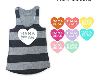 Mama Bear with Heart Heather Grey and Black Stripe Racerback Tank Top - Baby Announcement, Baby Shower, New Mom, Gift for Mom, Mother's Day