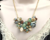 Blue Necklace, Cluster Necklace, Beach Theme Jewelry, Statement Necklace, Gift for Her, Blue Jewelry, Duck Egg Blue, Pebble Beach, Beaded