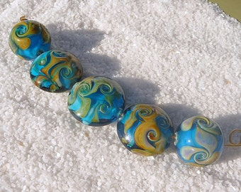 Handmade lampwork glass bead set Transparent aqua Silver Reactive glass Rounds Lentils Swirl Encased Artisan bead Generationslampwork, SRA