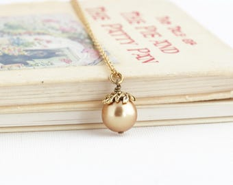 Solitaire Pearl Necklace - Bridal Party Necklaces - Bridal Jewelry - Single Pearl Necklace - Gold Pearl Charm Necklace - Wedding Necklace