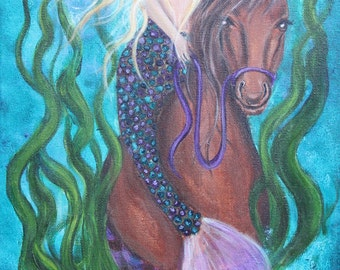 Mermaid Painting Cowgirl Painting Turquoise Painting Mermaid Art 10x20 Acrylic Painting by Celeste Johnston www.celestejohnstonart.com