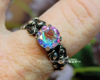 Ready to Ship Ring SALE, SAVE 15%, Opalescent Topaz, Mercury Mystic Topaz, Hand Crafted Ring, Solid Sterling Silver Ring, April Birthstone