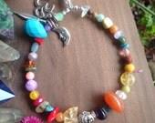 Rainbow Gemstone Keychain - Buddha Namaste Moon Feather - Raw Citrine -  Bright Colorful -  Earthy Bohemian Accessories - Boho Gift
