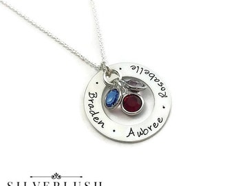 Three Name Sterling Silver Mother's Necklace with Birthstones - Personalized Jewelry - Custom Necklace