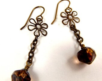 Bronze Flower Earrings Faceted Long Glass Dangles Vintage Style Brown and Green Beaded Jewelry Antique Brass Accessory