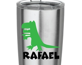 Green Dinosaur with Black Name Decal Monogram Vinyl Decal for Yeti Cups, Car, iPads, Computer or Whatever other Surface you can Find!!