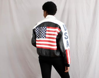 Make America 1980's Again . USA Leather Motorcycle Jacket . 80s Bomber Jacket . Men's Women's . Michael Hoban USA Jacket . Black Red Blue