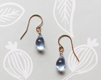 day swimming - gold and blue teardrop earrings by elephantine