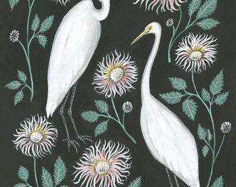 Egret and Dahlia - Print