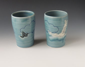 Origami Clay Tumbler Set - blue porcelain ceramic cups with cranes and clouds - wheel thrown handmade pottery