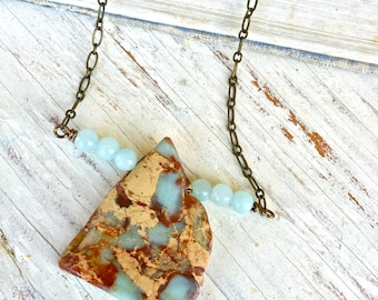 Gemstone necklace /beaded gemstone necklace / natural stone necklace /layering necklace. Tiedupmemories