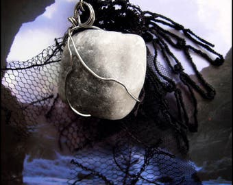 Ghostly Grey Avalon Amulet Necklace - Ocean tumbled Stone from Merlin's Cave + Tattered Black Vintage Lace - One of a Kind & Ready to Ship!