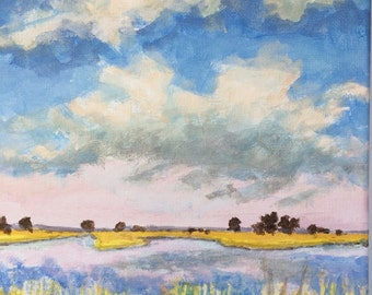 Lakeside Morning - Original Landscape Painting on Canvas Clouds and Water Reflection Soft Light 8x8