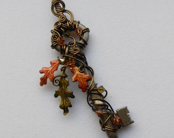 Oak Key Pendant -- Wire Wrapped Key Pendant with Orange, Yellow, Green Changing Color Triple Oak Leaves, Antique Brass Wire, Crystals