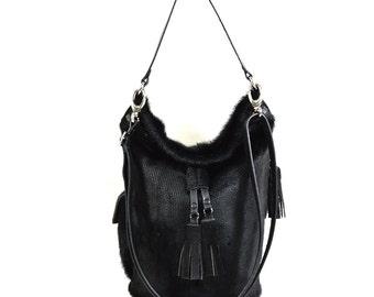 Emme - Handmade Black Hair On Hide Leather Duffel Bucket Bag SS17