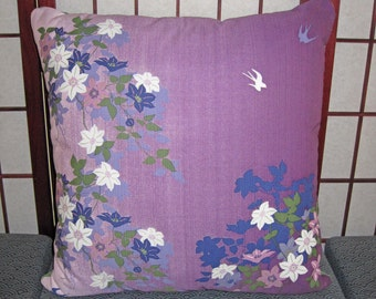 Swallows and Vines Design Zippered Japanese Furoshiki Pillow Cover Purple